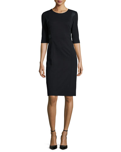 3/4-Sleeve Faux-Leather-Trim Ponte Sheath Dress, Black