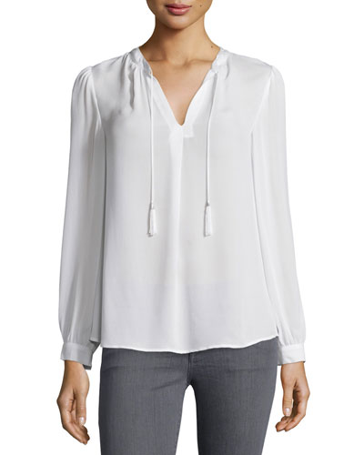 Calla Split-Neck Silk Top
