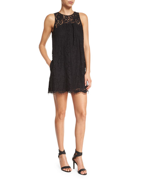 Fahfia Lace Sheath Mini Dress, Caviar