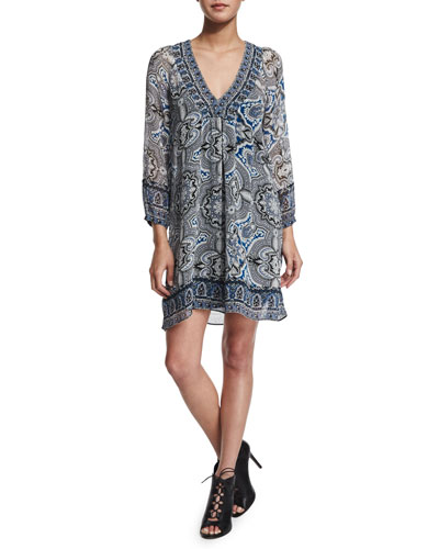 Abba Paisley-Print Silk Dress