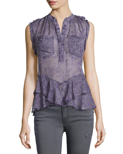 Printed Silk Ruffle-Trim Blouse, Dewberry