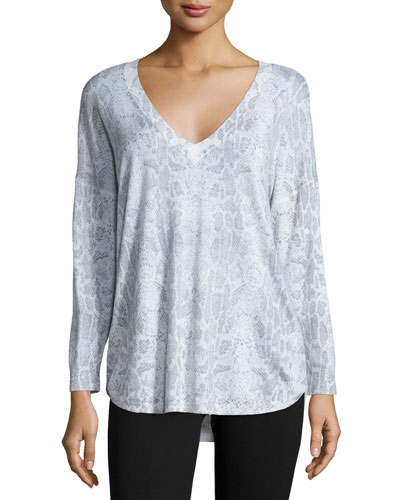 Chyanne Animal-Print V-Neck Sweater