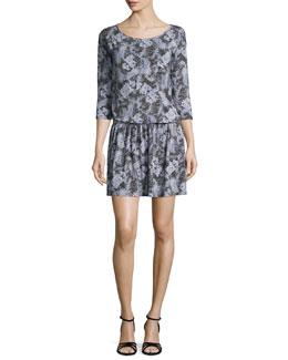 Liat 3/4-Sleeve Dress, Dark Cool Gray