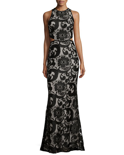 Adele Lace Cut-Out Dress, Black