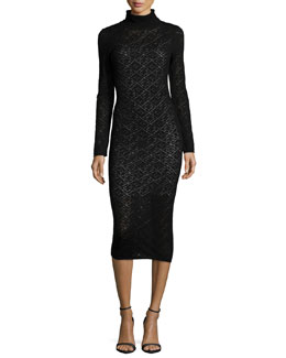 Fergie Turtleneck Midi Dress, Black
