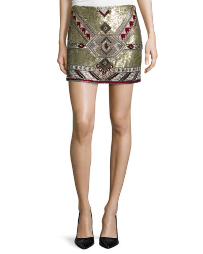 Elana Embellished Mini Skirt, Multicolor