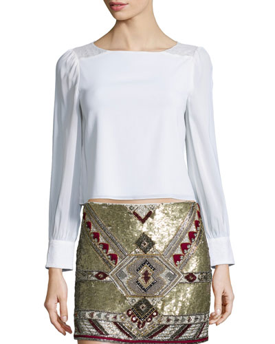 Bey Long-Sleeve Lace-Trim Blouse, Cream