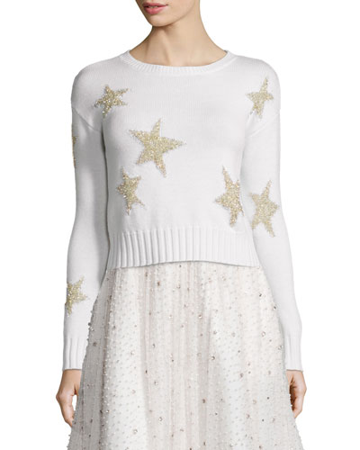 Erran Metallic-Star Pullover Sweater, White