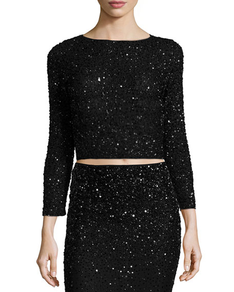 4c5afedb3e5490 Alice + Olivia Lacey Embellished Bracelet-Sleeve Crop Top
