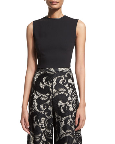 Flynn Sleeveless Ponte Back-Zip Top, Black
