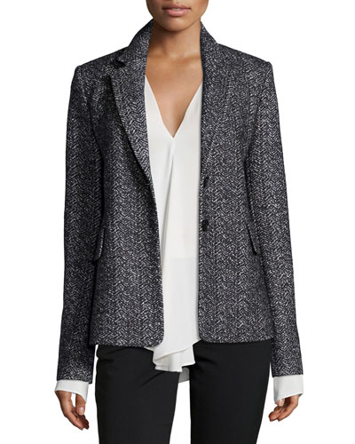Teshonna Two-Button Distinct Blazer, Black/White