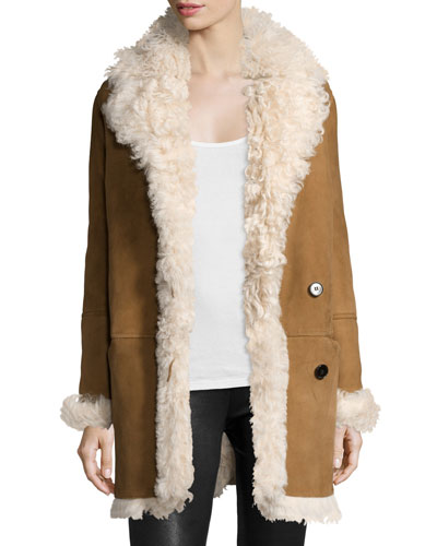 Abrienda Gosford Fur Coat, Cognac/Ivory