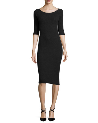 Fillia B. Evian Sheath Dress, Dark Charcoal