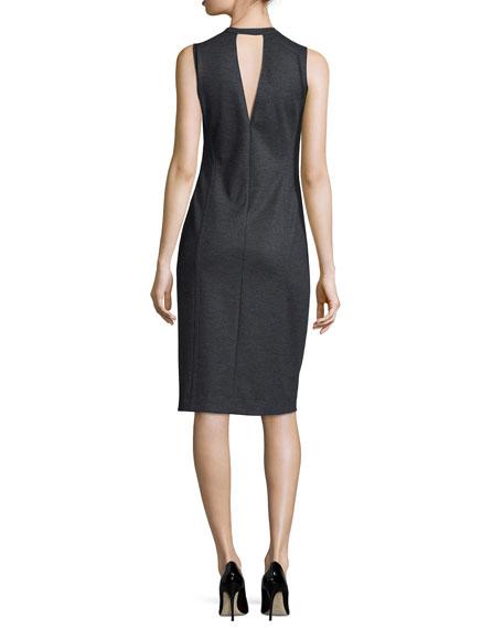 Gevel Sleeveless Sheath Dress, Dark Charcoal