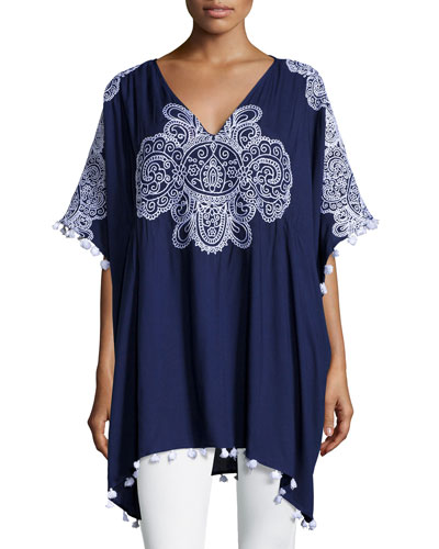 Embroidered Caftan Top with Tassels, Indigo
