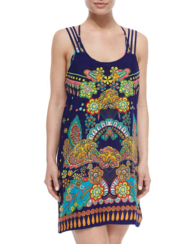 Retro Floral-Print Short Coverup Dress, Multi