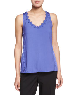 Sleeveless V-Neck Tank W/ Lace Detail