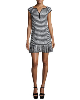 Cap-Sleeve Tweed Dress W/ Fringe Hem