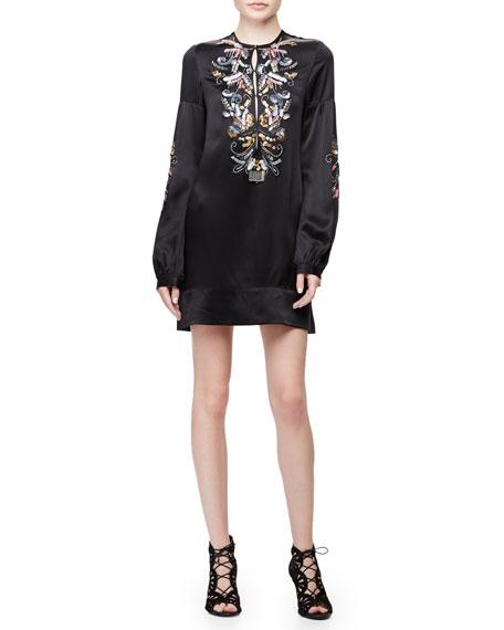 Long-Sleeve Embroidered Shift Dress, Black Multi