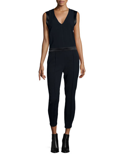Sleeveless Pintuck Jumpsuit