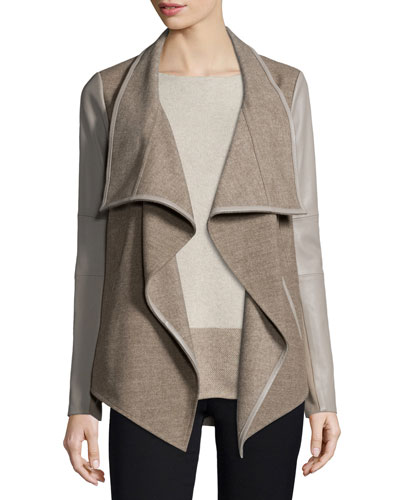 Mixed-Media Draped Jacket