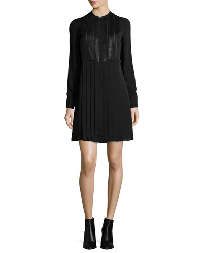 Pleated Dress with Mesh Bib, Black