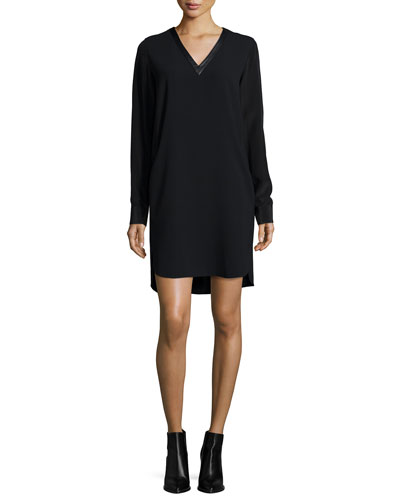 Long-Sleeve Mixed Media V-Neck Dress