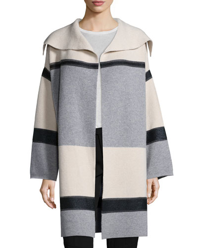 Colorblock Wool/Cashmere Car Coat
