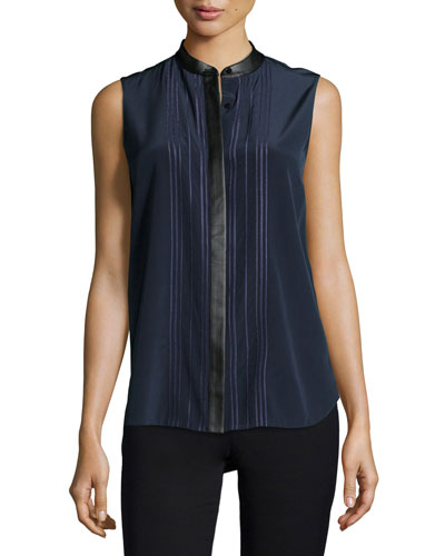 Embellished-Front Sleeveless Blouse