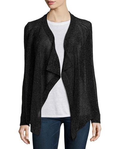 Drape-Front Textured Cardigan