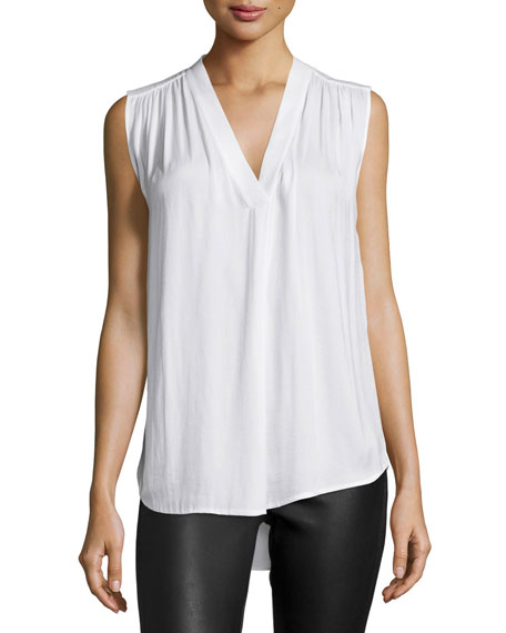 Ruched Shoulder V-Neck Blouse