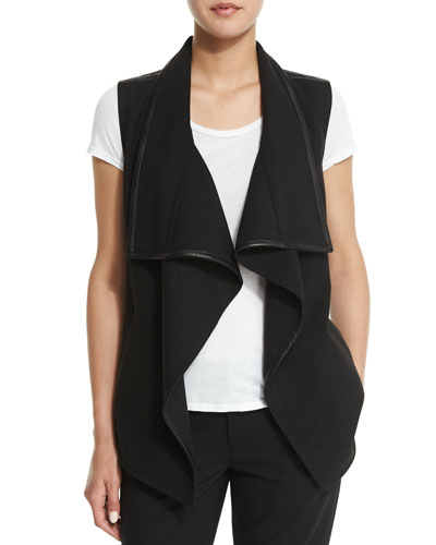 Drape-Collar Vest with Leather Trim