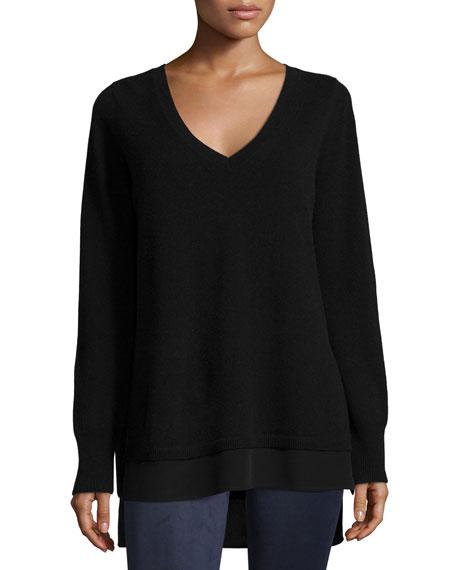 Mixed-Media Layered V-Neck Sweater