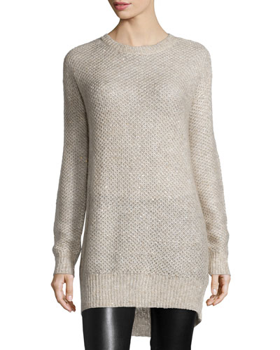 Ave Wool Sequin-Trim Sweater, Cream