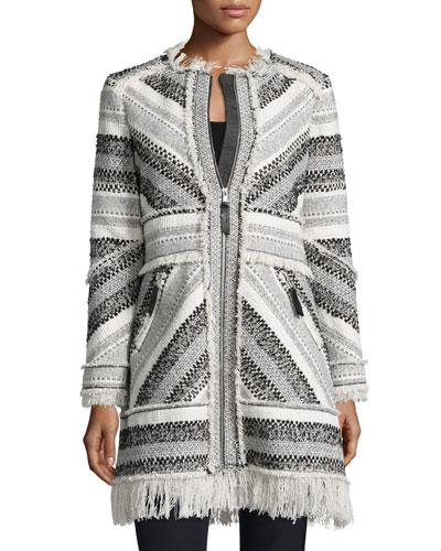 Artisan Chevron-Knit Fringe-Trim Coat, Black/White
