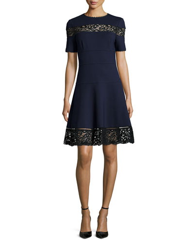 Lace-Trim Ponte A-Line Dress, Navy