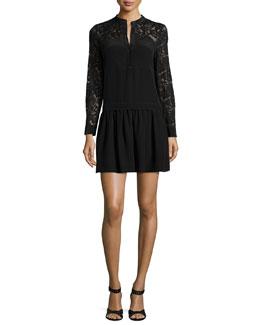 Long-Sleeve Paisley-Lace-Trim Silk Dress, Black