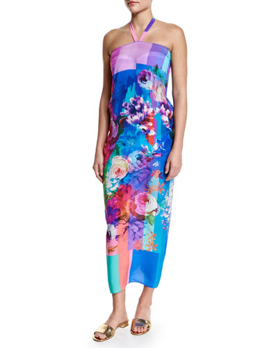 In Bloom Floral-Print Halter Pareo Coverup