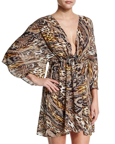 Sahara Animal-Print Beach Dress Coverup