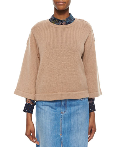 3/4-Sleeve Sweater with Braided Detail