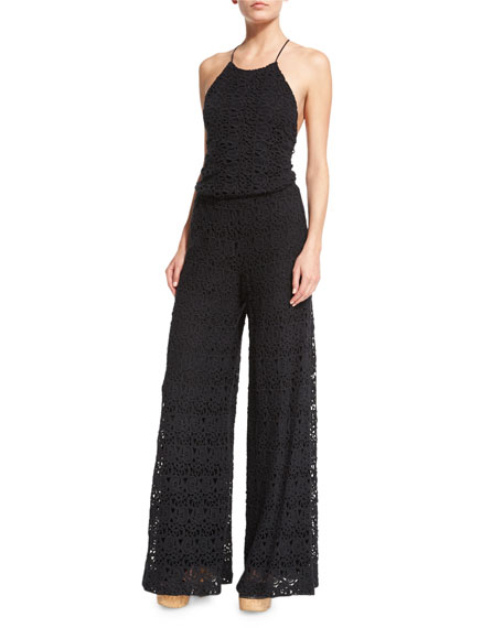 Miguelina Delphine Embroidered-Lace Jumpsuit Coverup