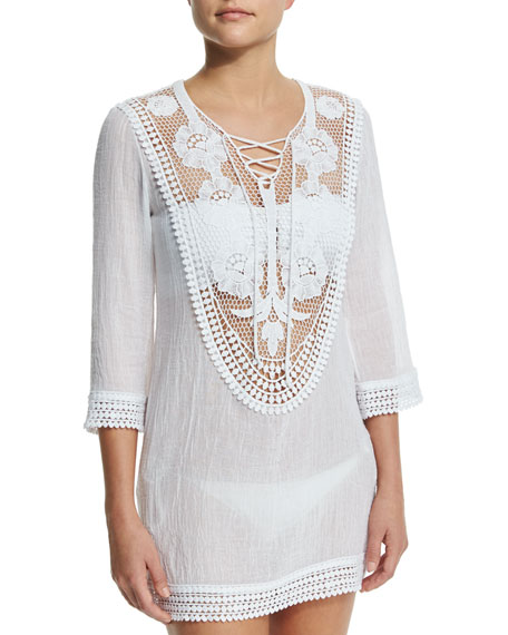 Lee Crocheted-Lace Coverup Dress