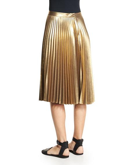 A L C Gates Pleated Metallic Skirt Gold