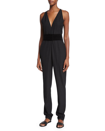 Jasen Sleeveless Twill Jumpsuit, Black