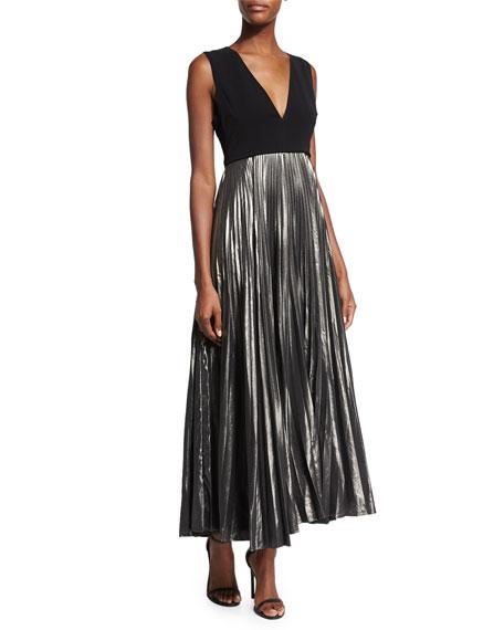 Alc Emilia Pleated Metallic Maxi Dress Blackgunmetal