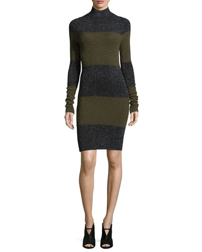 Sharon Long-Sleeve Striped Metallic Dress, Black/Army Multi