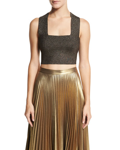Ali Metallic Crop Top, Bronze