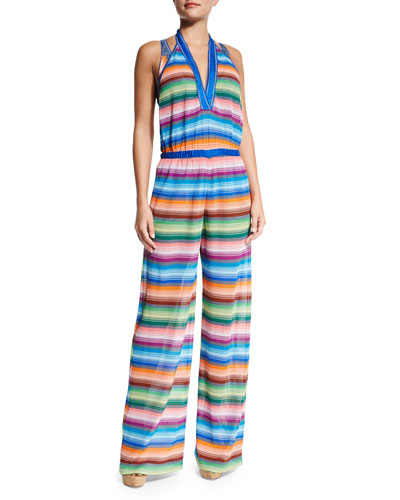 Striped Halter-Neck Jumpsuit Coverup