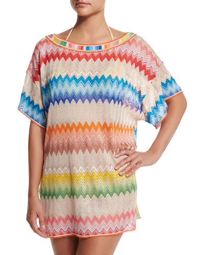 Zigzag-Print Short-Sleeve Tunic Coverup, Multi