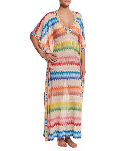 Zigzag-Print Long Caftan Coverup, Multi
